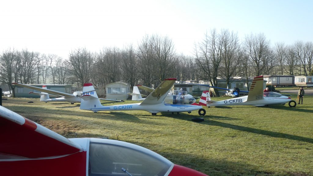 DLGC's fleet of two-seat training gliders being prepared for the day's flying